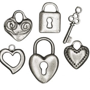 6 pendentifs en métal - Cœur & Serrure