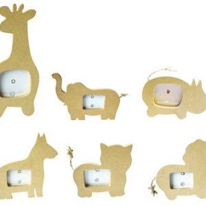 Lot de 6 mini cadres animaux en bois