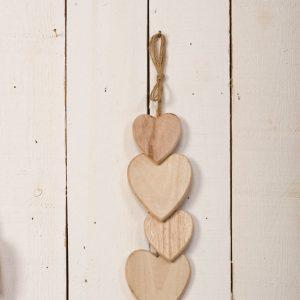 Cascade de cœurs en bois à suspendre