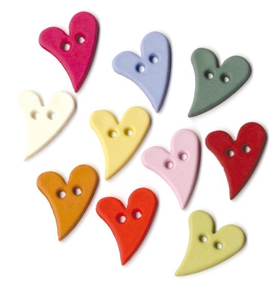 Assortiment de boutons multicolores - Cœur Fun x 36