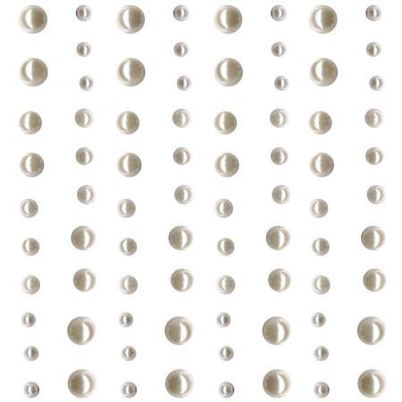 Strass autocollant - Demi-perles blanches nacrées x 80