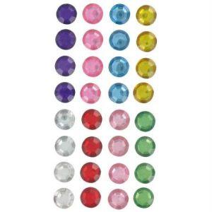 Strass autocollant rond multicolore - 10 mm x 32