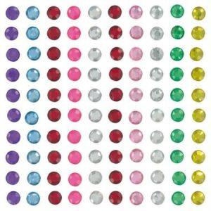 Strass autocollant rond multicolore - 6 mm x 100