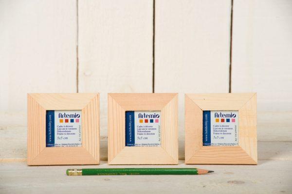 Lot de 3 cadres en bois - format photo 5 x 5 cm