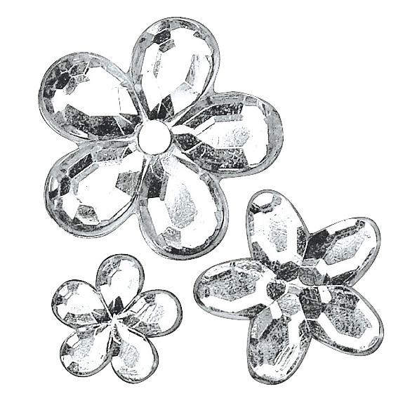 Strass acrylique à coller Fleur - Cristal
